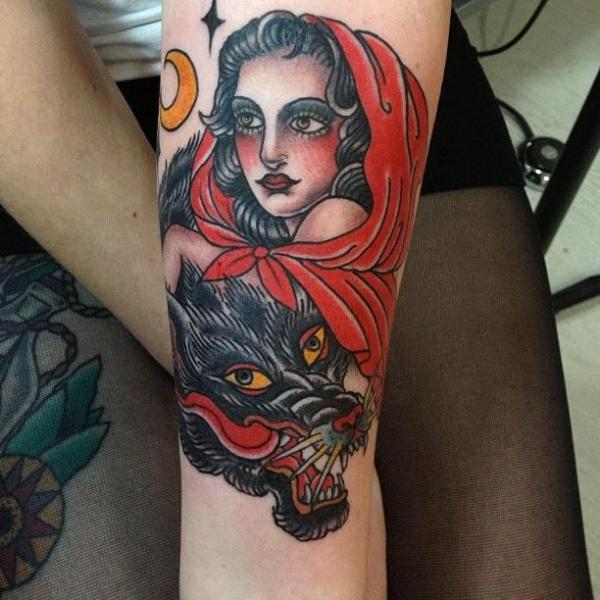 arm women wolf little red tattoo by carnivale tattoo. Black Bedroom Furniture Sets. Home Design Ideas