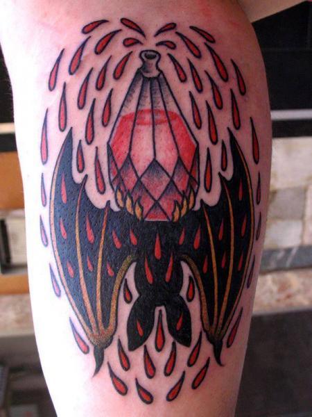 Calf Old School Bat Blood Tattoo By Carnivale Tattoo