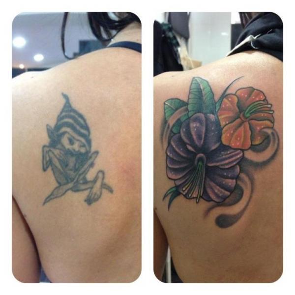 shoulder flower cover up tattoo by carnivale tattoo. Black Bedroom Furniture Sets. Home Design Ideas