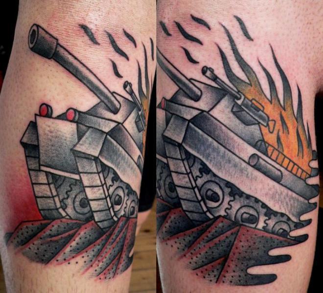 arm old school tank tattoo by last port. Black Bedroom Furniture Sets. Home Design Ideas
