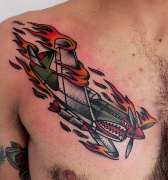 Chest Old School Airplane Tattoo by Last Port