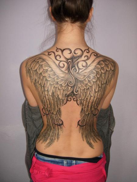 Fantasy Back Wings Tattoo by Blue Tattoo