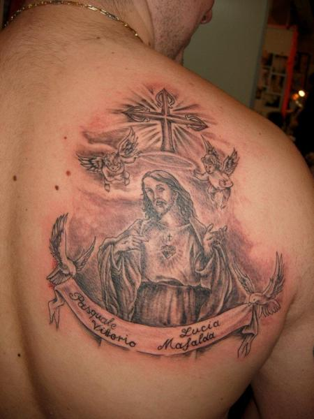 Shoulder Jesus Religious Tattoo by Blue Tattoo
