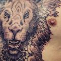 Chest Lion Dotwork tattoo by Gregorio Marangoni