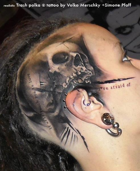 Skull head tattoo by buena vista tattoo club for Tattoos on side of head