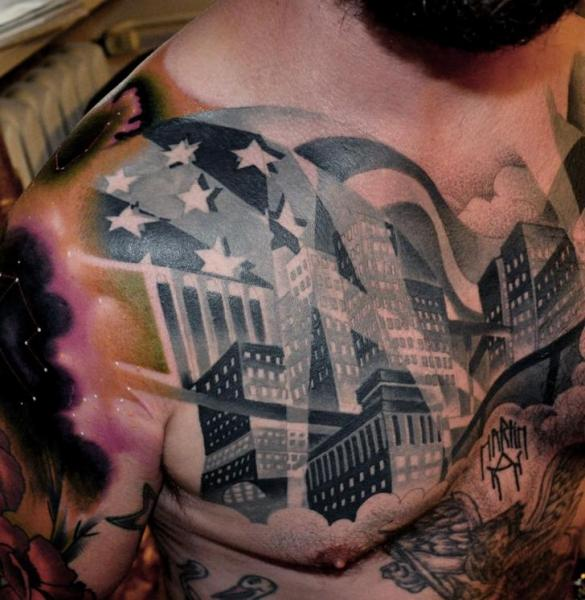 Chest city tattoo by raw tattoo for All city tattoo