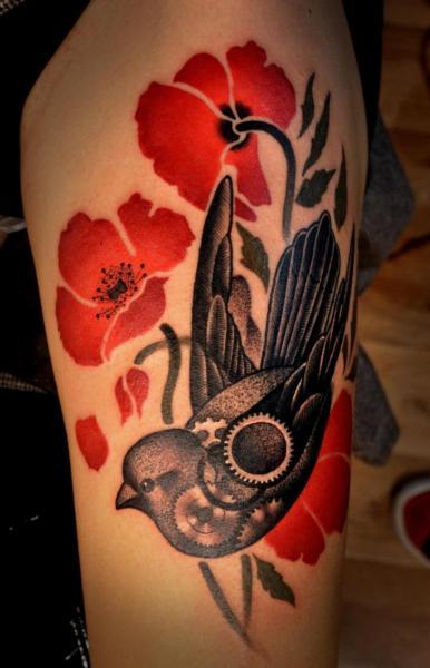 Flower dotwork bird thigh tattoo by raw tattoo for Red flower tattoo