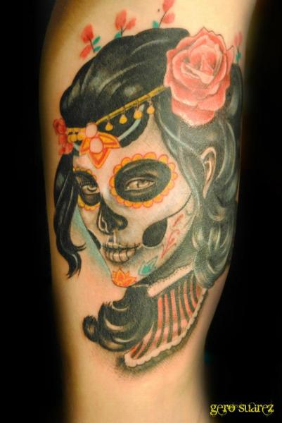 Tatouage bras cr ne mexicain par seven arts - Tattoo crane mexicain ...
