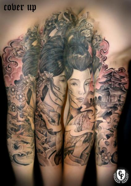 Tatuaje brazo japoneses geisha cover up por cosa fina tattoo - Tattoos geishas japonesas ...