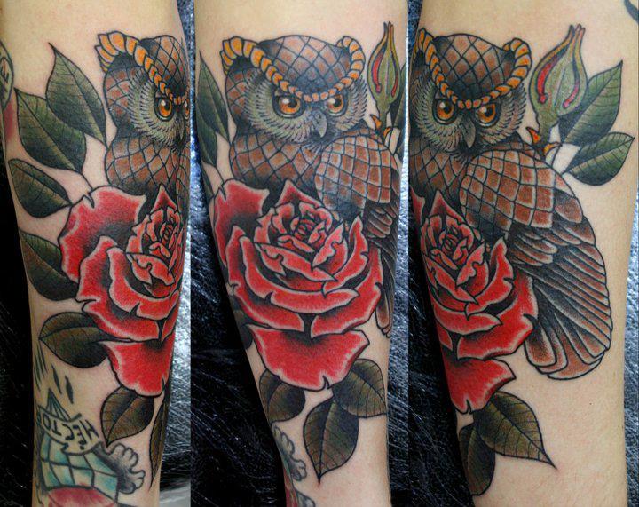 arm old school flower tattoo by bonic cadaver. Black Bedroom Furniture Sets. Home Design Ideas