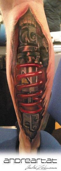 Biomechanical calf tattoo by andreart tattoo for Shock absorber tattoo