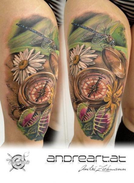 Shoulder Realistic Dragonfly Compass Tattoo By Andreart