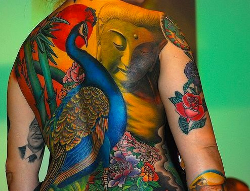 Japanese peacock back tattoo by art line tattoo for Peacock back tattoo
