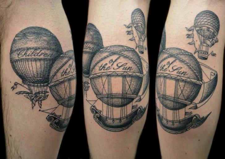 Fantasy Dotwork Balloon Tattoo by Tin Tin Tattoos