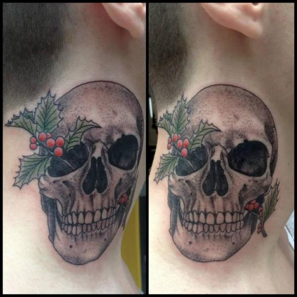 Skull neck tattoo by tin tin tattoos for Skull neck tattoos