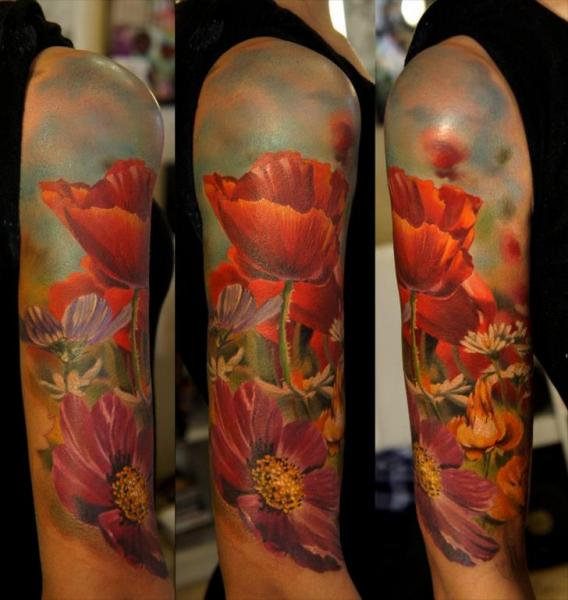 Realistic Flower Tattoos On The Right Forearm Tattoo: Shoulder Realistic Flower Tattoo By Grimmy 3D Tattoo