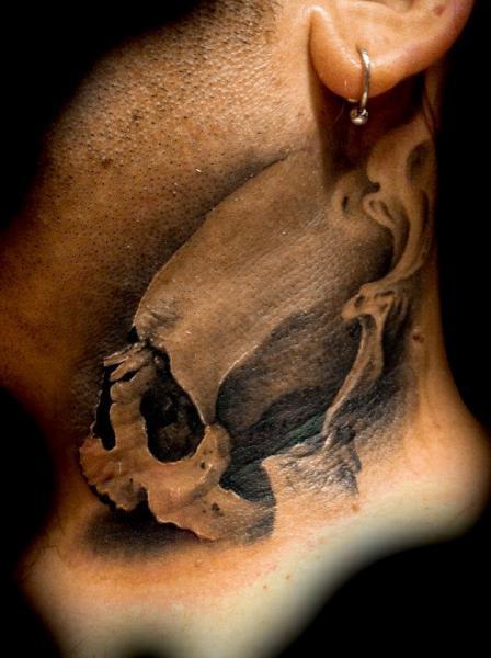 Skull Neck Tattoo by Tatuajes Demon