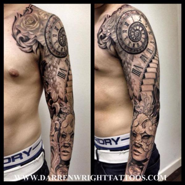 uhr sleeve tattoo von darren wright tattoos. Black Bedroom Furniture Sets. Home Design Ideas