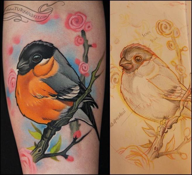 arm realistische vogel tattoo von oleg turyanskiy. Black Bedroom Furniture Sets. Home Design Ideas