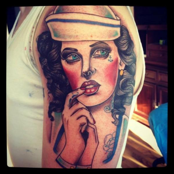 Shoulder Women Mariner Tattoo By Time Travelling Tattoo