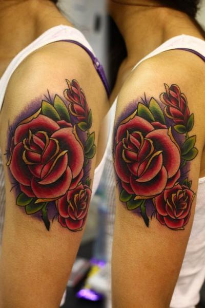 Shoulder Flower Tattoo by Nemesis Tattoo Koi Tattoo Side