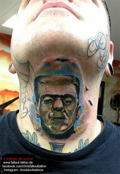 Neck Frankenstein Chin Tattoo by Fallout Tattoo  Neck Frankenste...