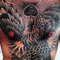 Chest Old School Eagle Belly tattoo by Seven Devils