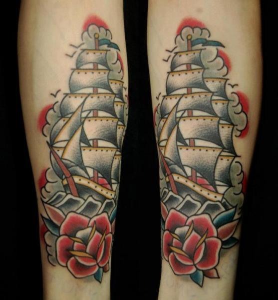 old school galleon tattoo by seven devils. Black Bedroom Furniture Sets. Home Design Ideas