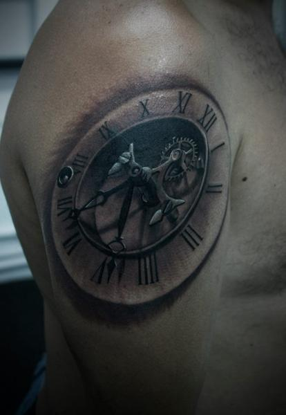 shoulder clock tattoo by 2nd face. Black Bedroom Furniture Sets. Home Design Ideas
