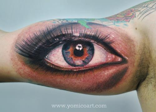 arm realistic eye tattoo by yomico art. Black Bedroom Furniture Sets. Home Design Ideas