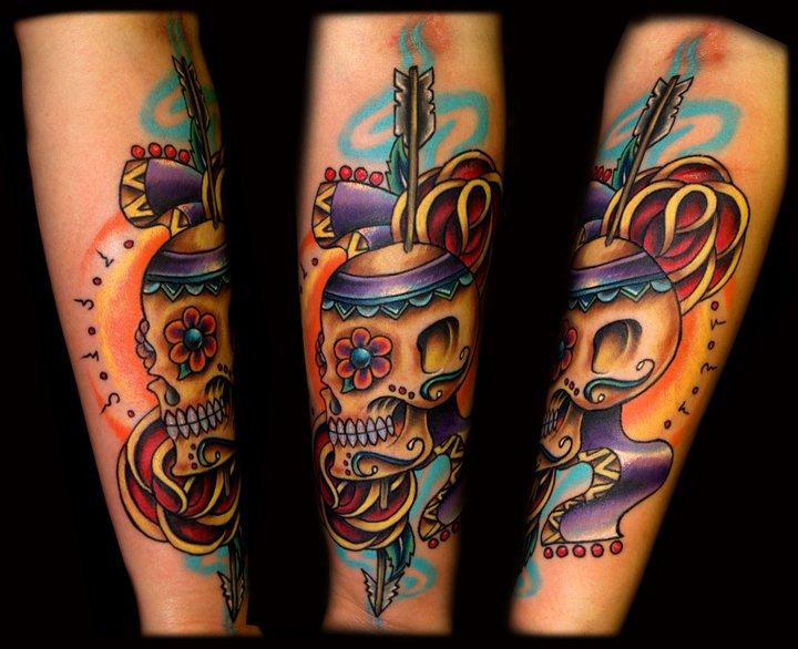 Arm New School Skull Tattoo by Artistic Element Ink