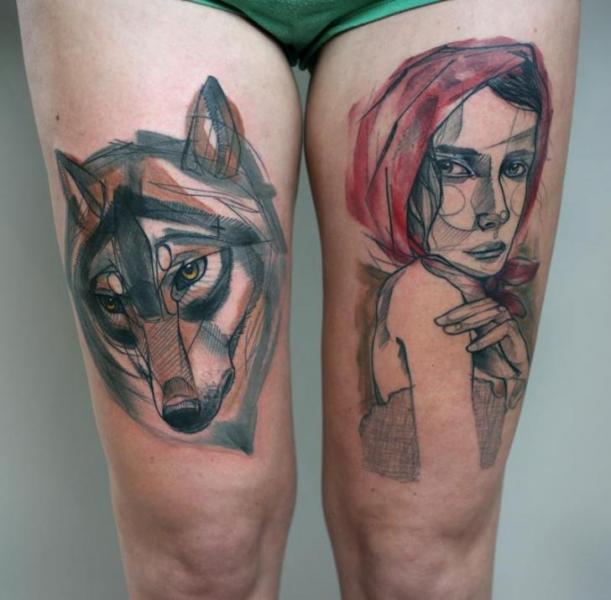 Womens Wolf Tattoo Thigh Tattoos Women Wolf Womens Thigh: Women Wolf Thigh Tattoo By Peter Aurisch