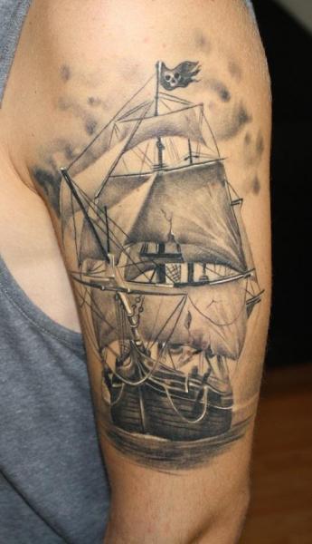 shoulder realistic galleon tattoo by bio art tattoo. Black Bedroom Furniture Sets. Home Design Ideas