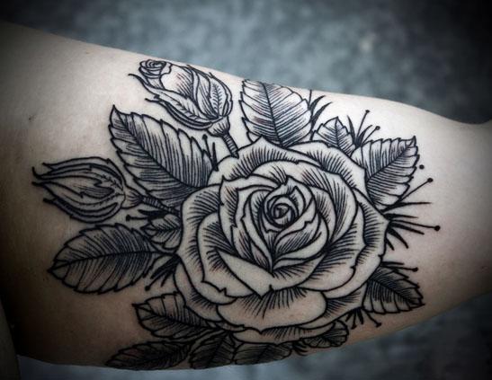 Arm Flower Tattoo by David Hale Koi Tattoo Side