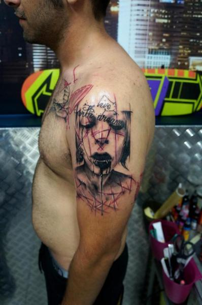 Shoulder Women Tattoo by Proki Tattoo
