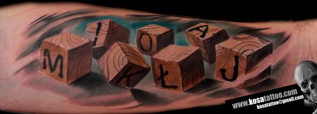 arm leuchtturm w rfel tattoo von speak in color. Black Bedroom Furniture Sets. Home Design Ideas