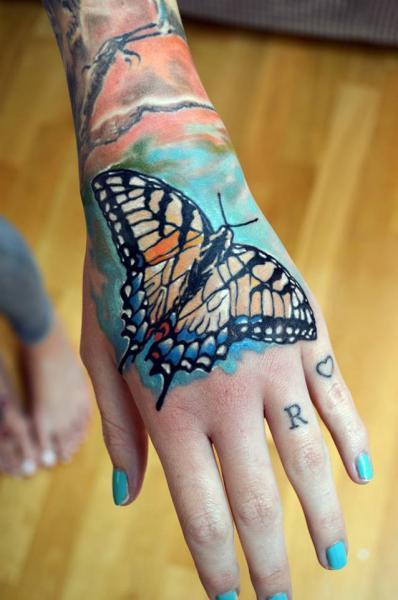 Hand Butterfly Tattoo by Otzi - 32.6KB