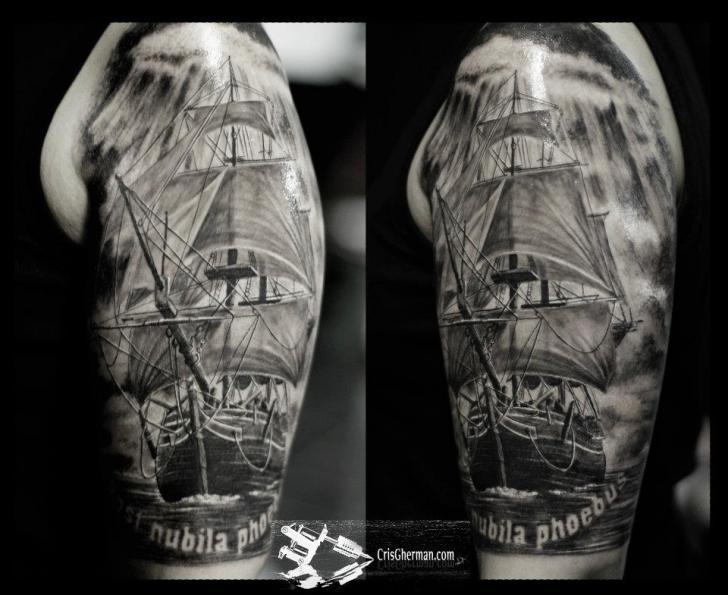 shoulder realistic galleon tattoo by chris gherman. Black Bedroom Furniture Sets. Home Design Ideas