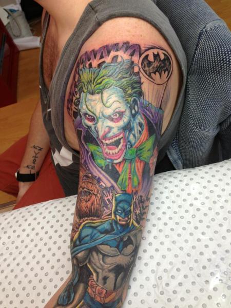 Shoulder arm batman joker tattoo by rand family tattoo for Joker batman tattoo