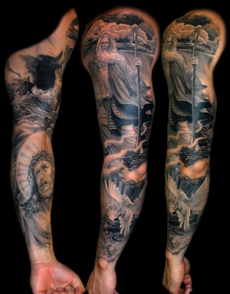 Religious sleeve tattoo by james tattoo art for Tattoos catholic church