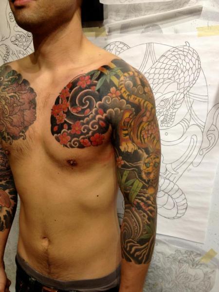 schulter japanische sleeve tattoo von seventh son tattoo. Black Bedroom Furniture Sets. Home Design Ideas