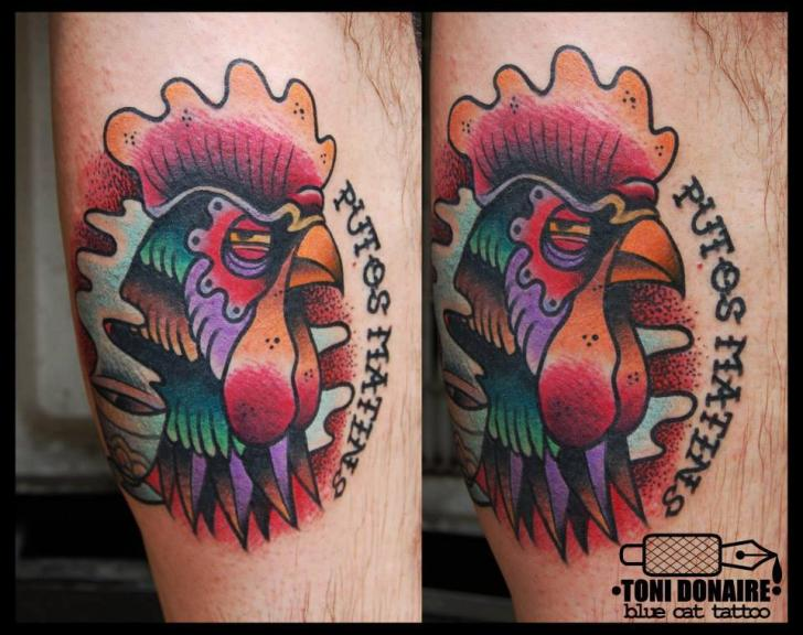Arm new school rooster tattoo by tattoo blue cat for Pig and rooster tattoo meaning