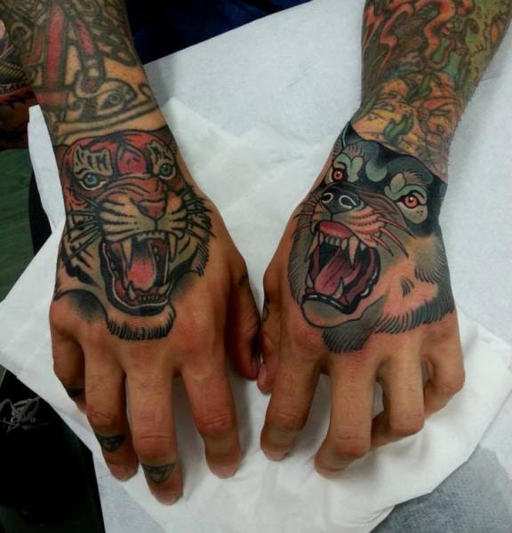 New School Hand Wolf Tiger Tattoo by Tattoo Blue Cat