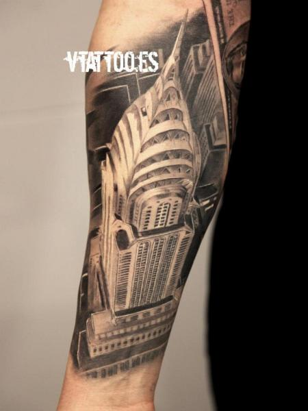 arm 3d empire state building tattoo by v tattoos. Black Bedroom Furniture Sets. Home Design Ideas