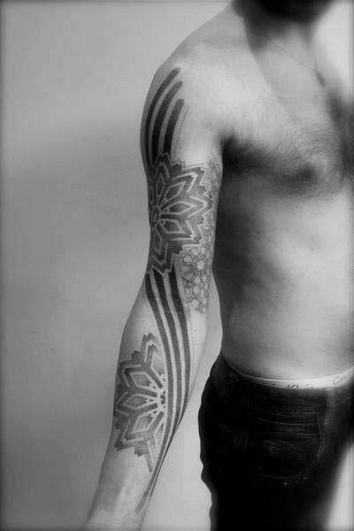 Arm Flower Dotwork Tattoo by L'Art Du Point