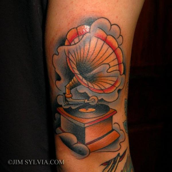 Arm new school gramophone tattoo by jim sylvia for Jim sylvia unbreakable tattoo