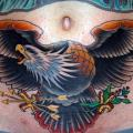 Old School Eagle Belly tattoo by Jim Sylvia