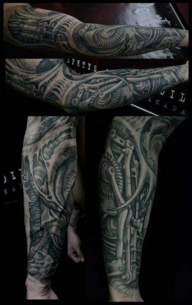 biomechanical sleeve tattoo by nephtys de l 39 etoile. Black Bedroom Furniture Sets. Home Design Ideas