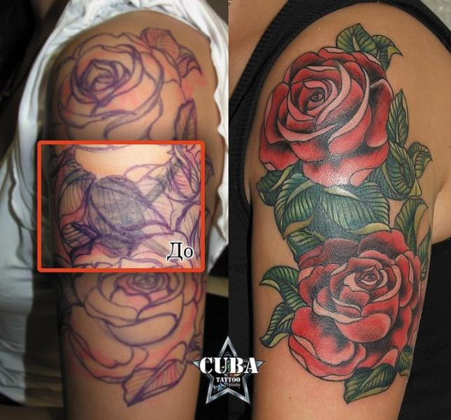 old school flower cover up tattoo by cuba tattoo. Black Bedroom Furniture Sets. Home Design Ideas