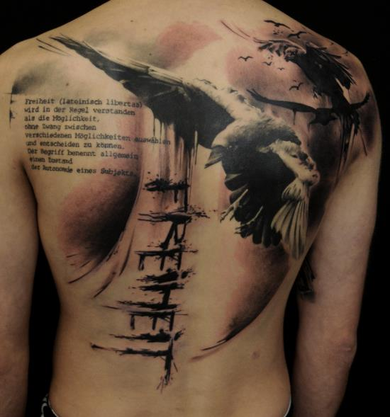 realistic back crow tattoo by vicious circle tattoo. Black Bedroom Furniture Sets. Home Design Ideas